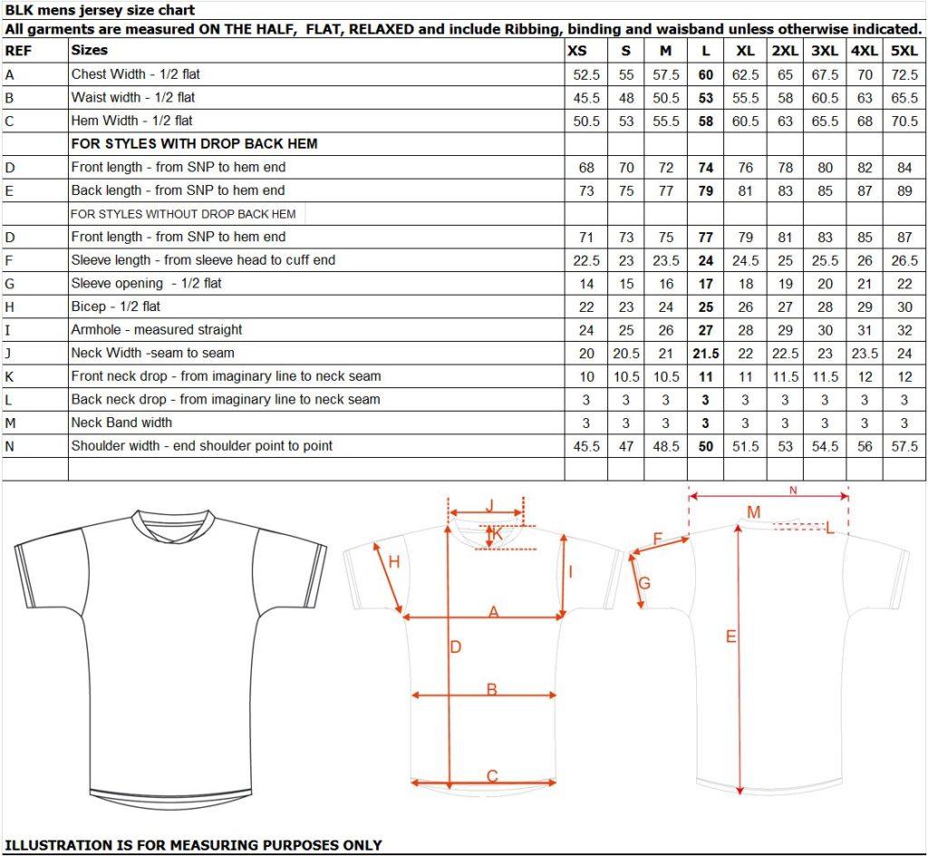 mens jersey size chart